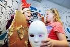 Step back in time: Darien Garwood, 10, and Ruby Simmons, 10, act out a scene from their Egyptian play