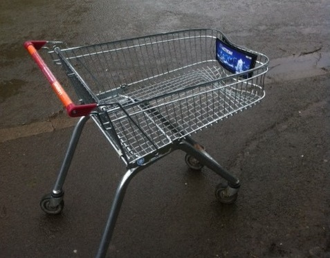 A discarded shopping trolley
