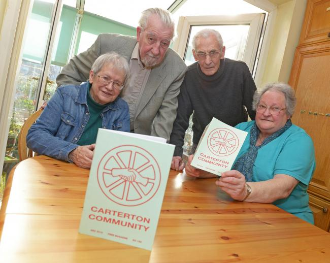 Members of Carterton Community Magazine, from left, Wendy Morgan, editor, Fred Robertson, proofreader, Chris Morgan, distributor, and Margaret Millington, treasurer