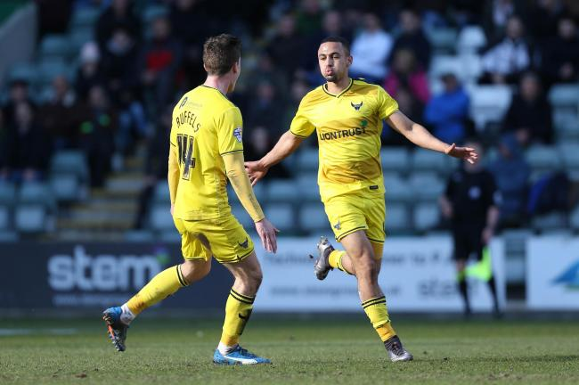 Kemar Roofe celebrates putting Oxford United in front at Plymouth Argyle Picture: Pinnacle