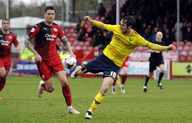 Danny Hylton, who was partnered up front with Callum O'Dowda, controls the ball during Oxford United's win over Crawley Town Picture: David Fleming