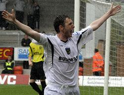 Gary Twigg celebrates his goal