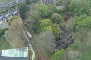 Drone footage of the devastated building in Witney. Picture: Mike Aspinall, DMK I.T. Services