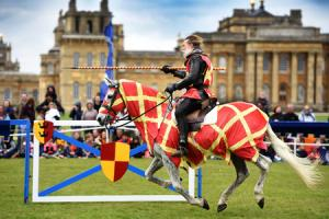 Crowds gather at Blenheim Palace on Saturday to watch the jousting match. Picture: Richard Cave.