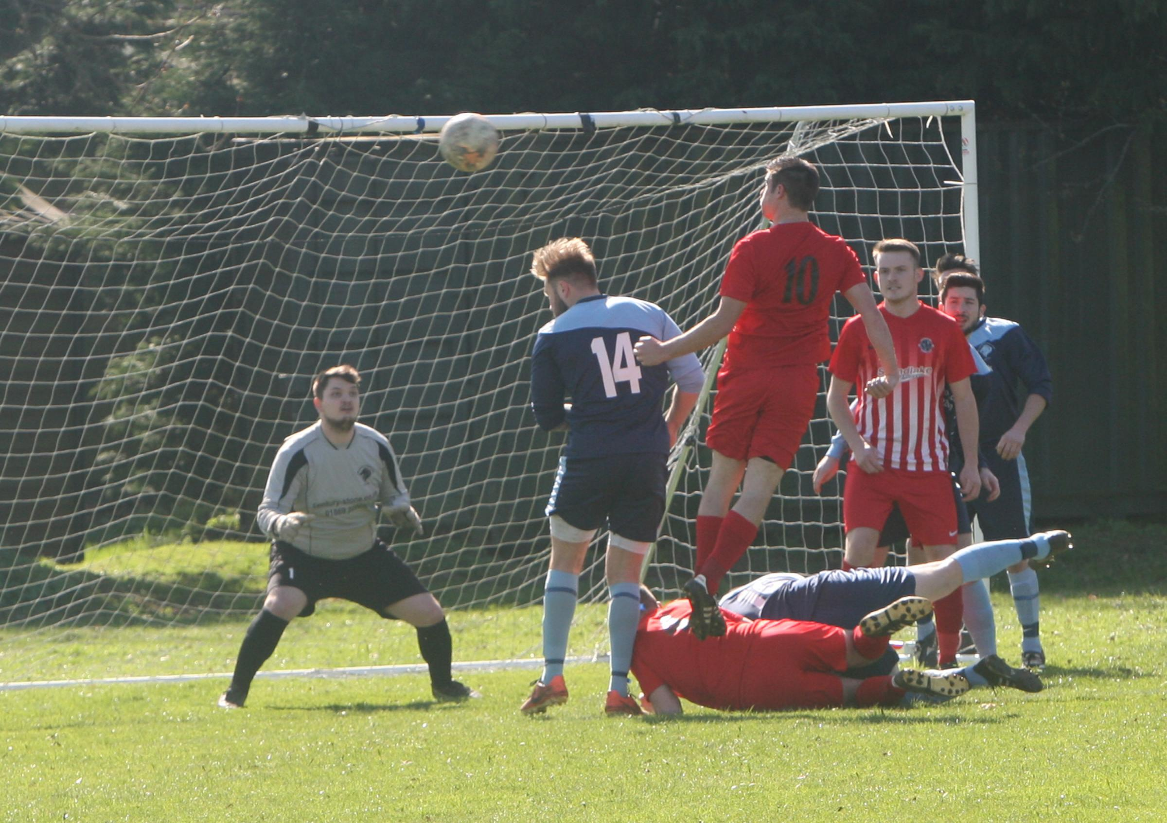 Craig Johnson, seen here going close to scoring against Kirtlington last month, hit one of Hanborough's eight goals