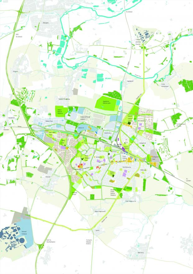 Witney Gazette: The map of Didcot Garden Town masterplan.