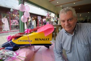 Dr Pat Symonds Technical Director of Renault F1 in the Rosa flower design shop