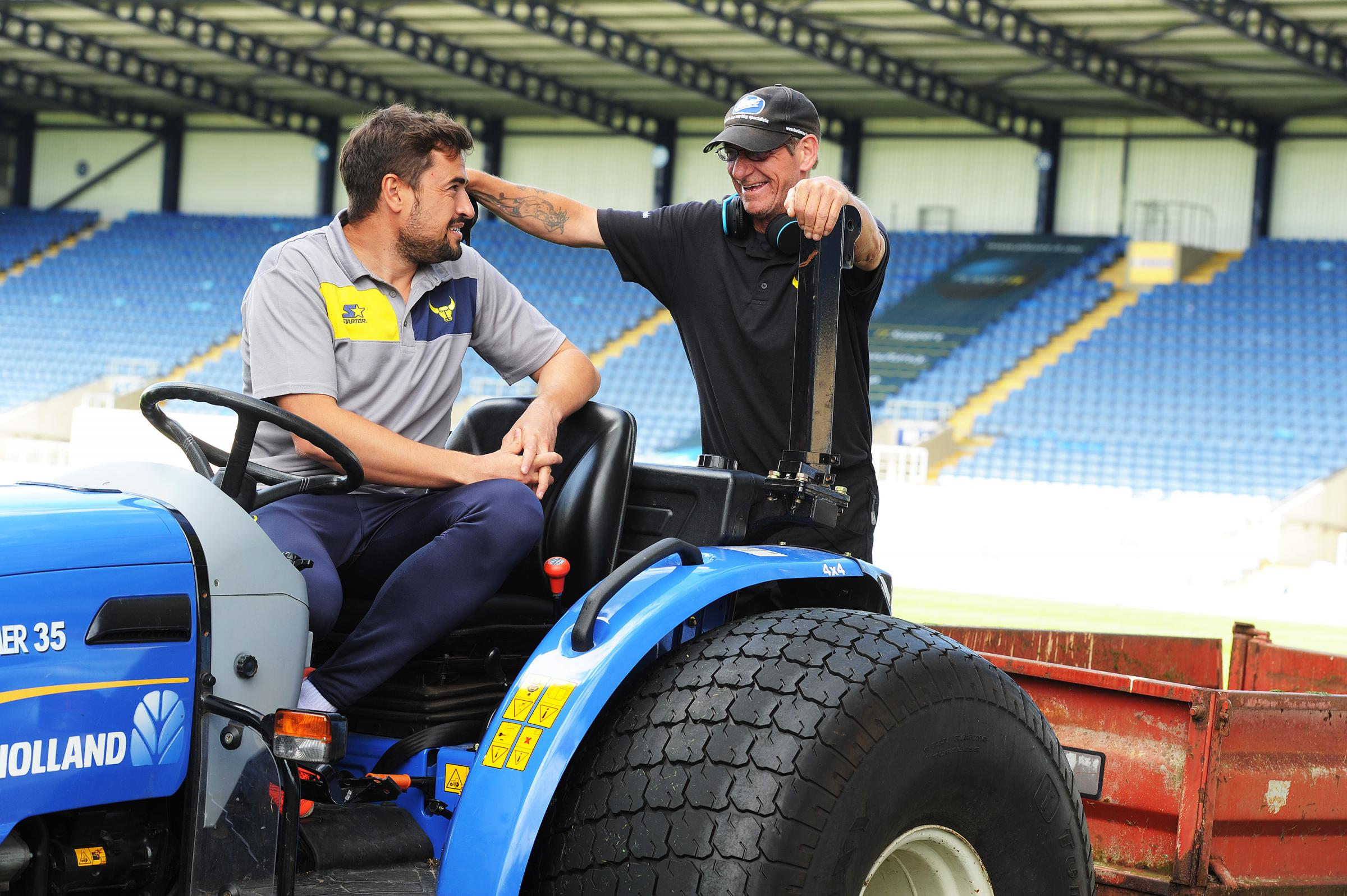 Oxford United groundsman Paul Currier (right) with manager Pep Clotet  Picture: Jon Lewis
