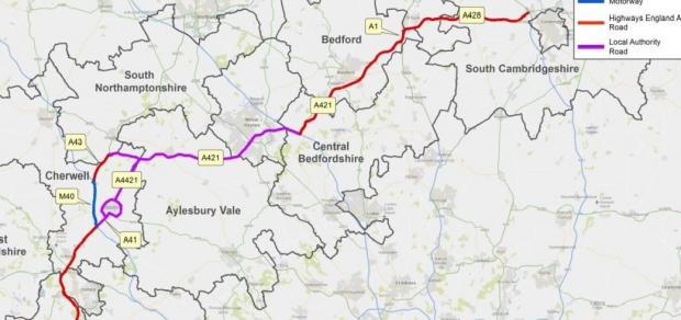 Witney Gazette: If option one is chosen, the Expressway could follow a route similar to this.