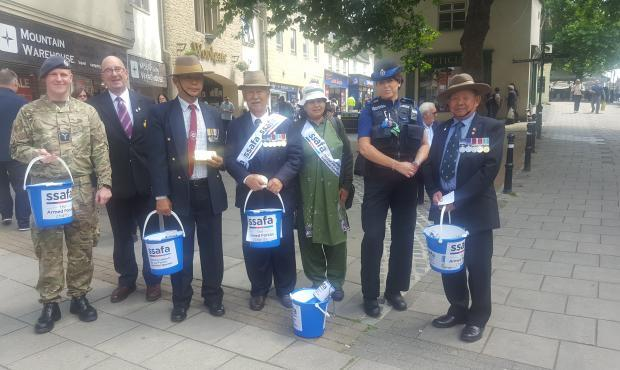Members of the SSAFA Oxfordshire division during a collection day in Witney on July 1 2017