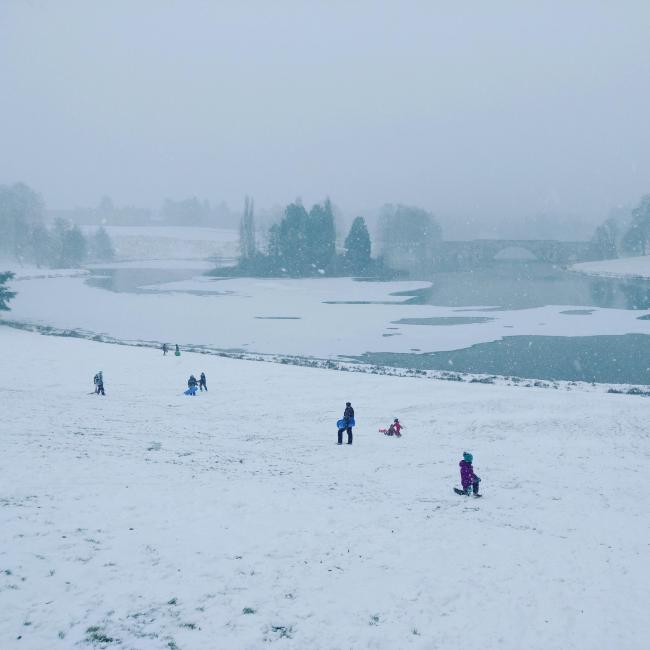 Sledging in Blenheim Palace in March!
