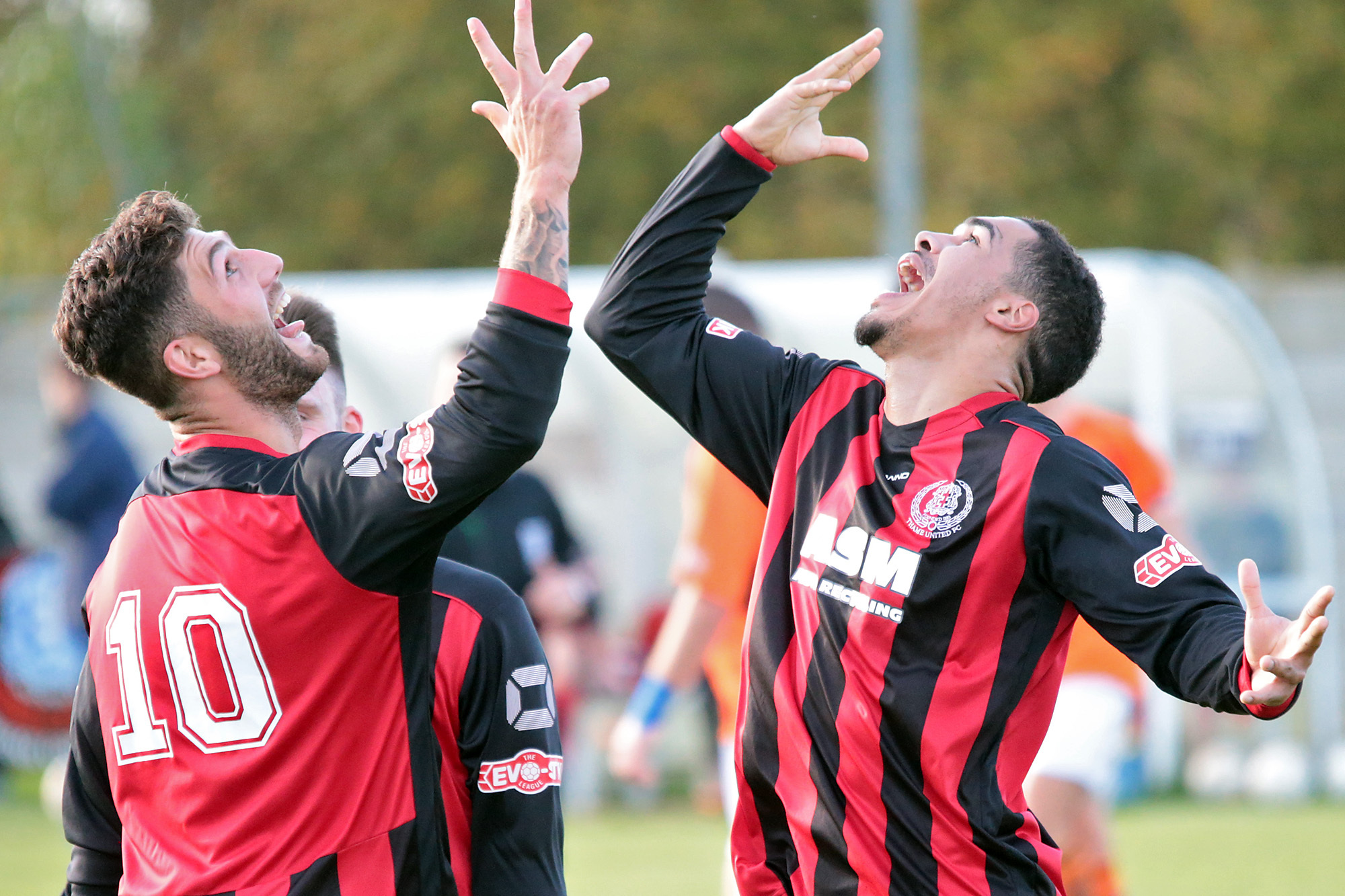 DEADLY DUO: Dan West (left) and Lynton Goss, pictured celebrating a goal earlier this season, have found the net 36 times between them this season Picture: Ric Mellis