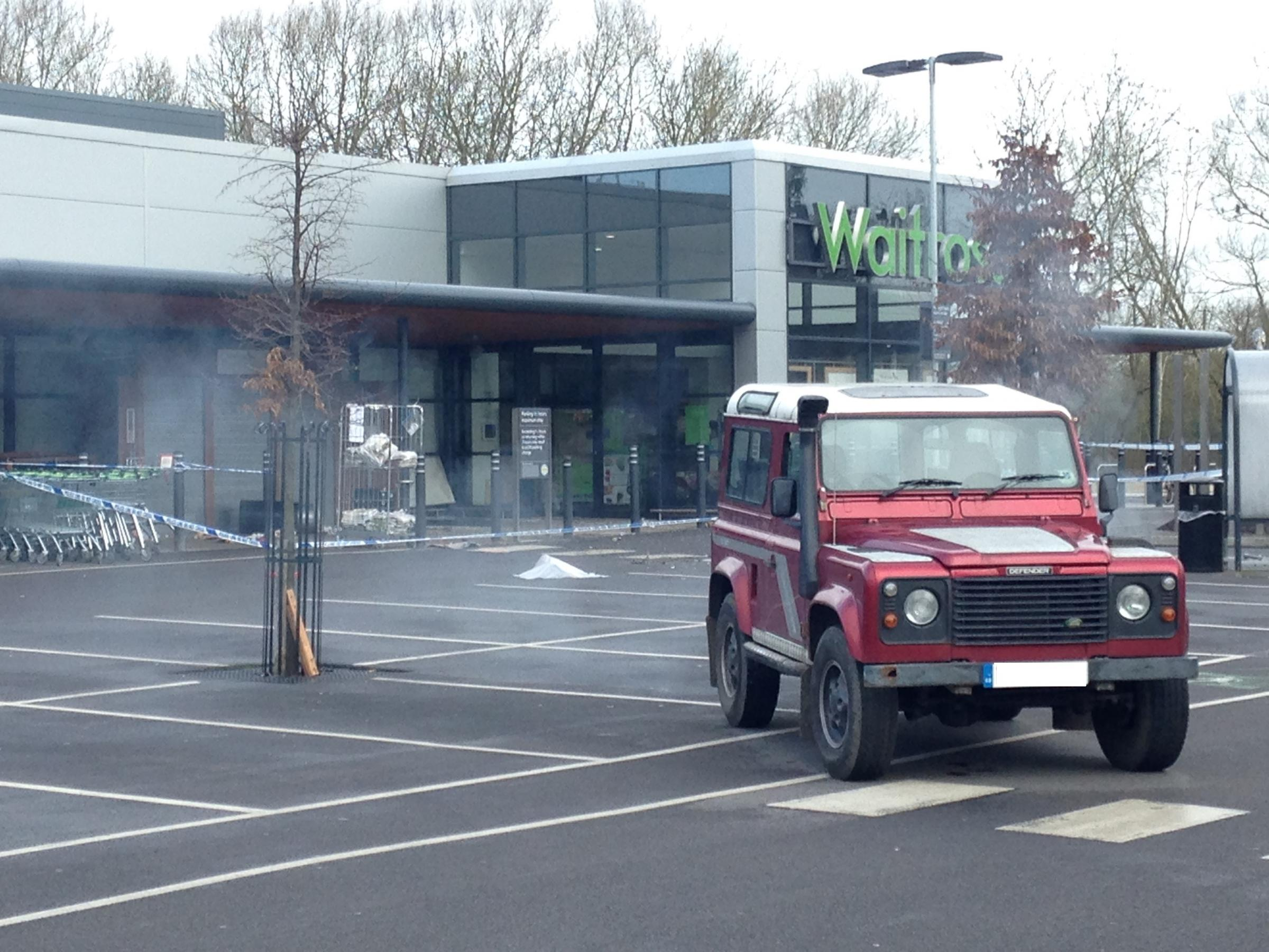 The scene at Waitrose shortly before 9am yesterday