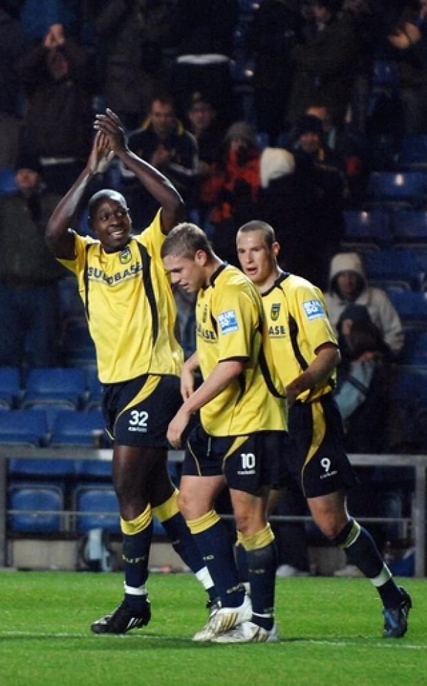 Witney Gazette: Ricky Sappleton celebrates scoring on his United debut