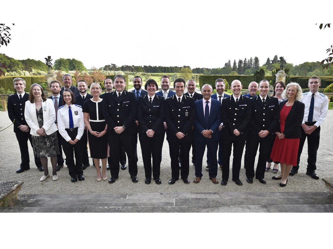 Chief Constbale Francish Habgood with Thames Valley Police officers
