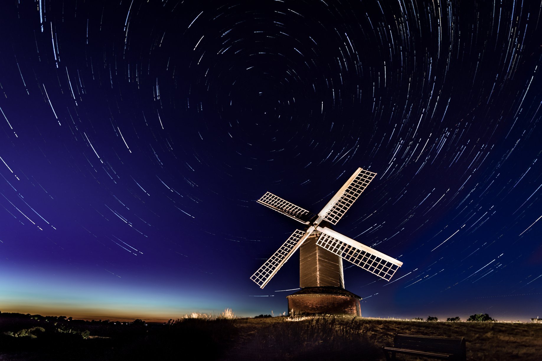 Star trails at Brill windmill by Anthony Morris