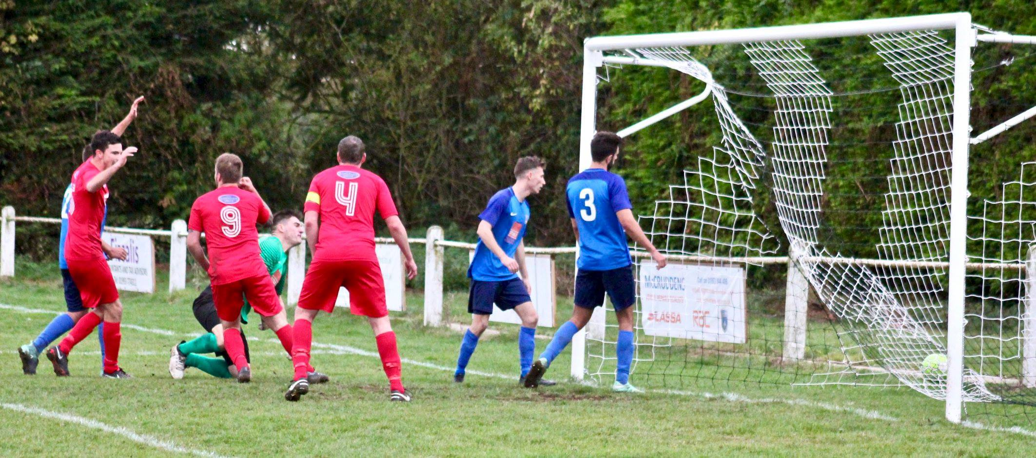 CONSOLATION: Jozef Fullerton (9) celebrates his goal for Clanfield after scoring with a backheel from a corner, but his side were beaten 3-1 by leaders Cheltenham Saracens Picture: Paul Gibbens