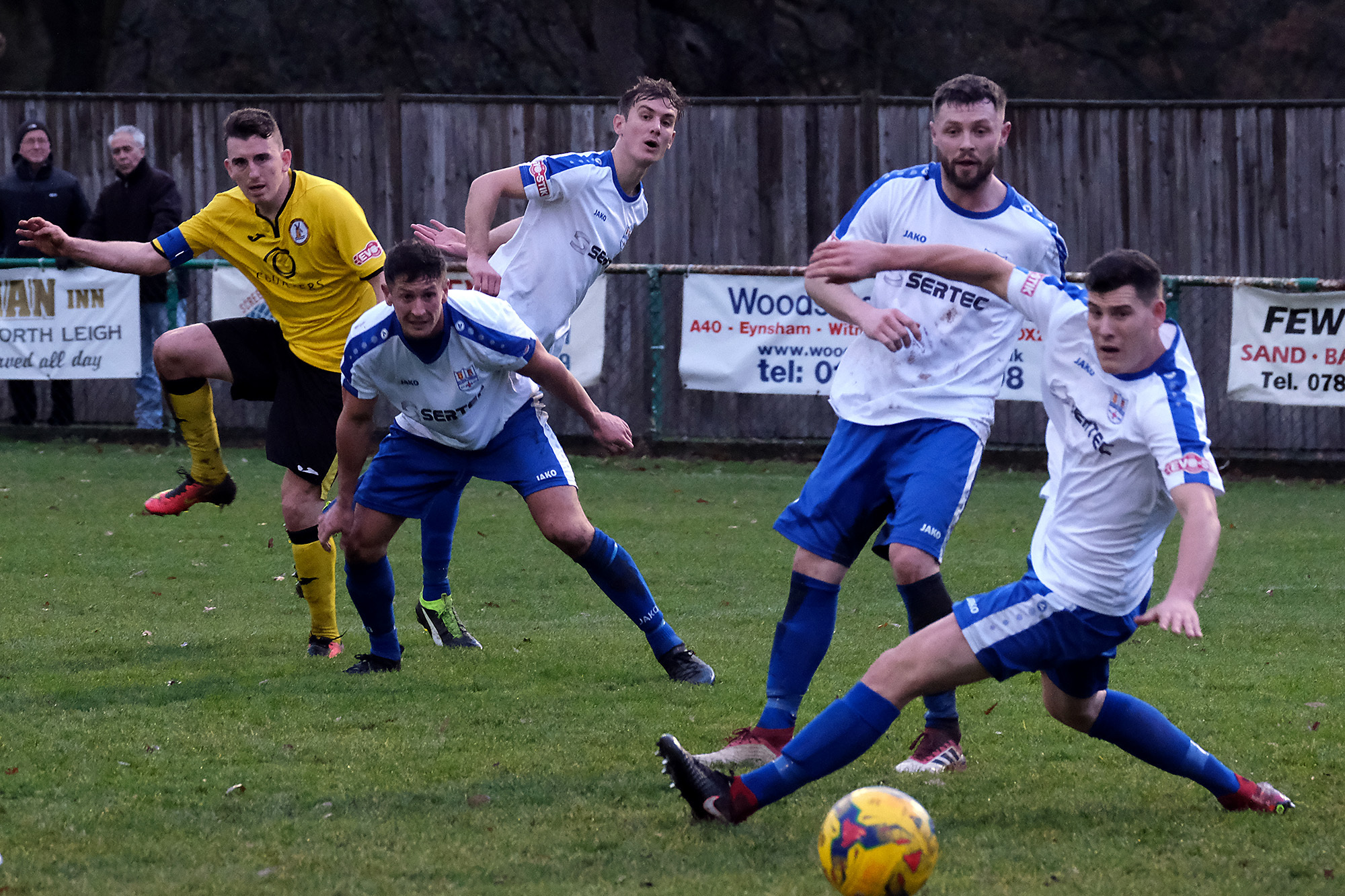 Harry Grant's fierce shot beat four Coleshill defenders but went narrowly wide during North Leigh's home defeat on Saturday	                    Picture: Ric Mellis