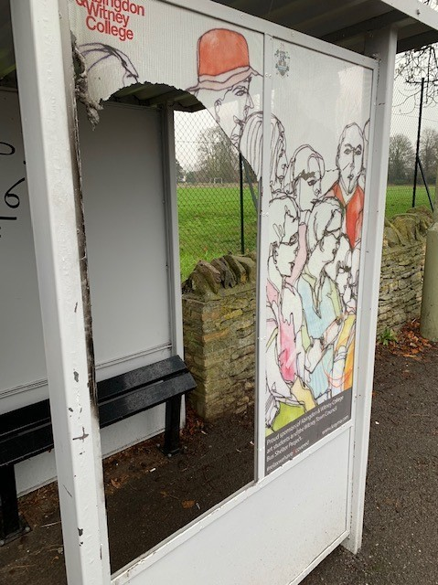 Vandals damaged an art instillation at Newland bus shelter created by students at Abingdon & Witney College Picture: Witney Town Council