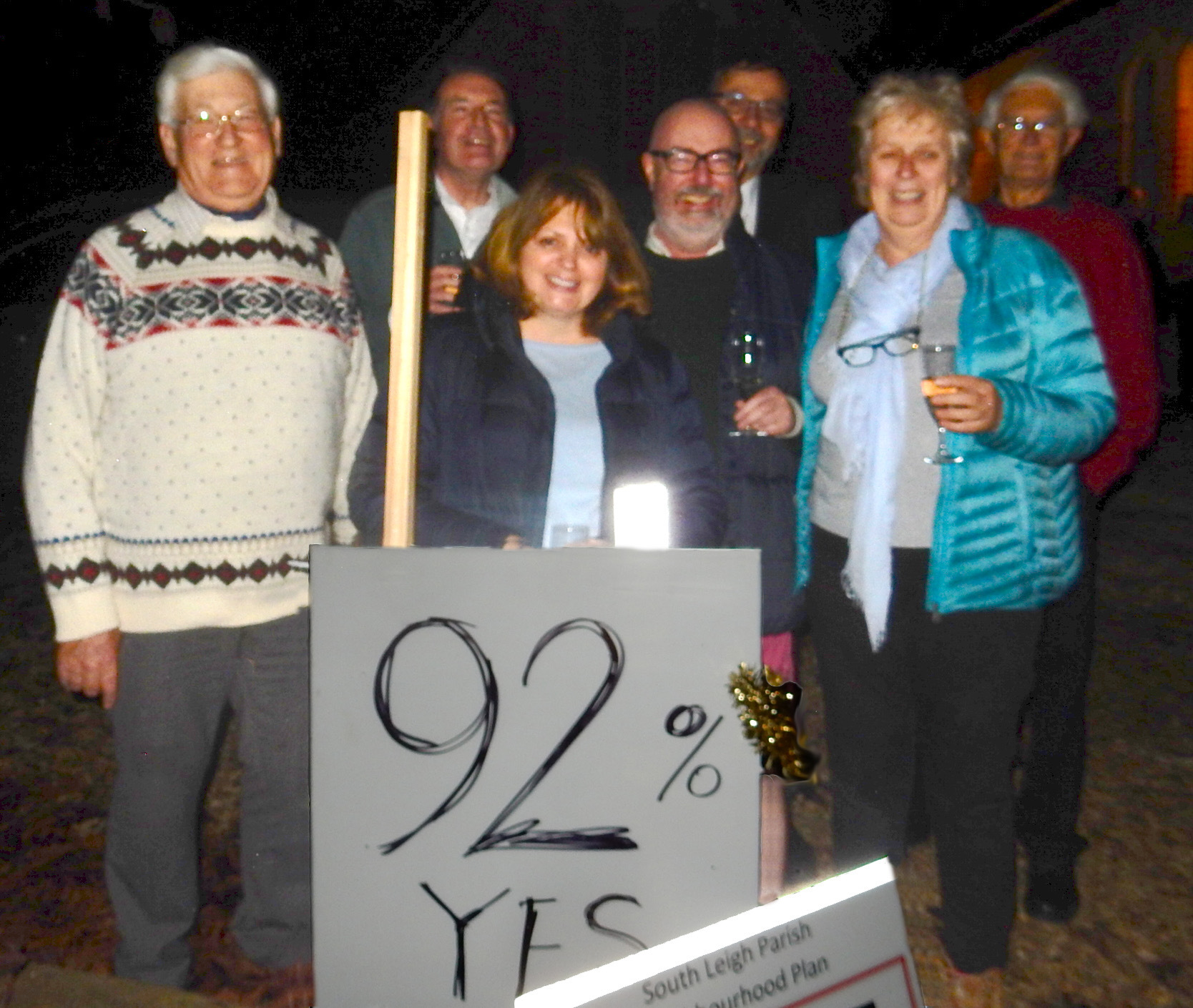 South Leigh residents celebrate a 92.4 percent vote in support of the village's Neighbourhood Plan 					Picture: Martin Spurrier