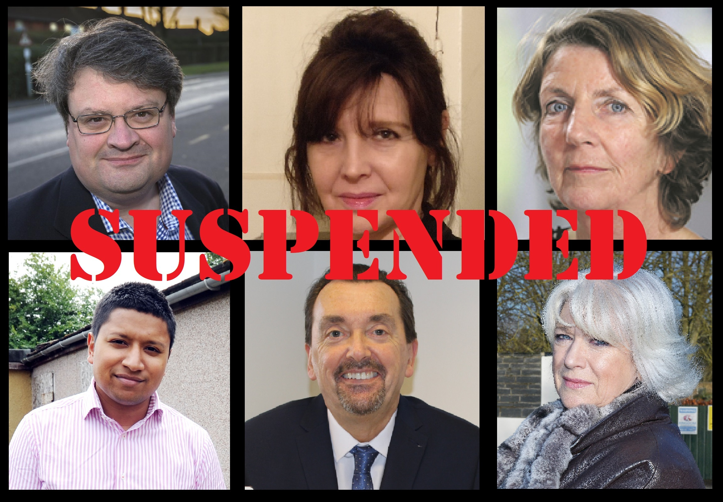 The six South Oxfordshire District Councillors suspended by the district Conservative group in January 2019. Clockwise from top left, John Cotton, Sue Lawson, Elizabeth Gillespie, Elaine Hornsby, Tony Harbour and Imran Lokhon. Picture: Oxford Mail/ SODC/