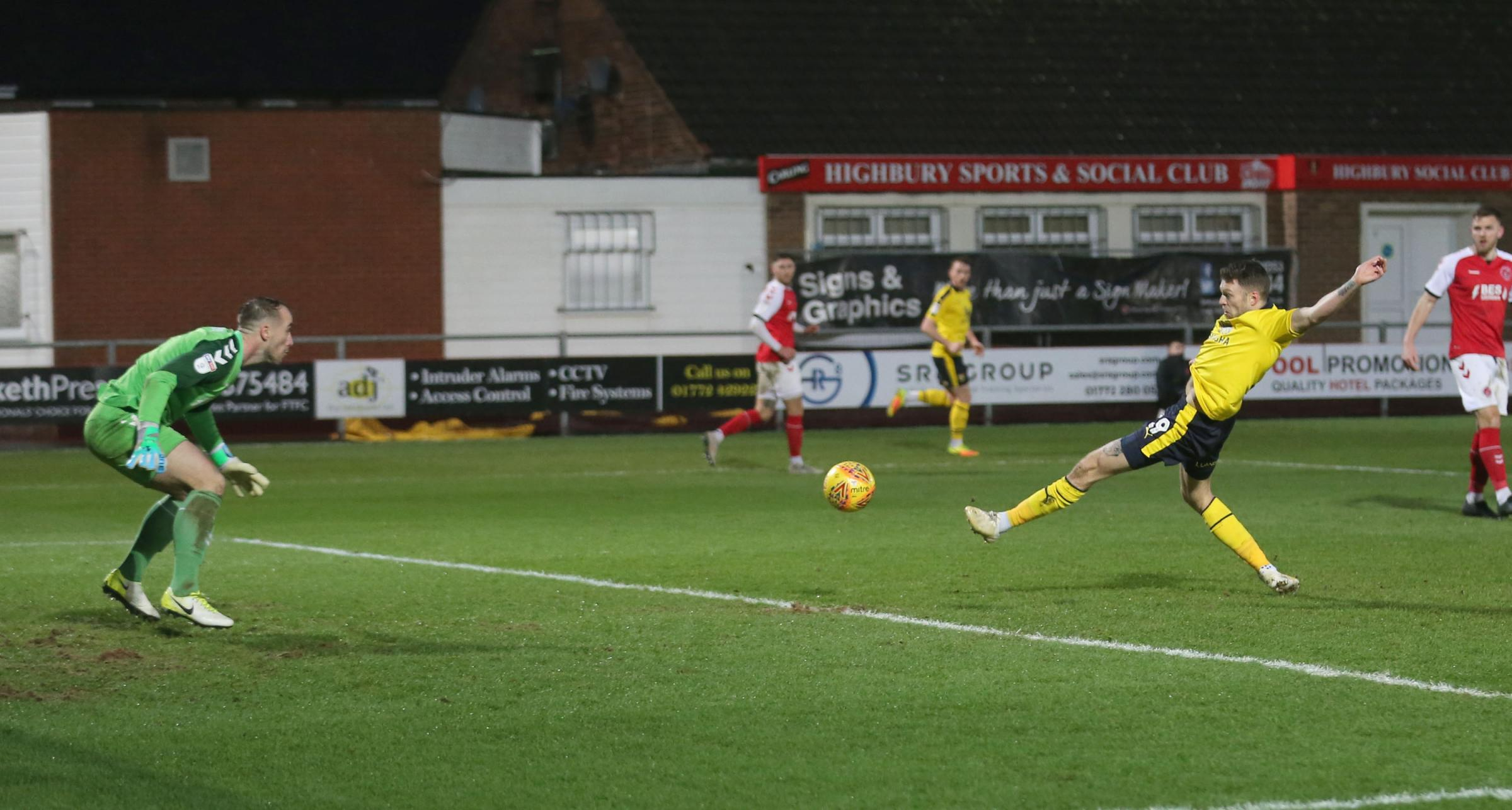 Jamie Mackie makes it 2-2 for Oxford United at Fleetwood Town  Picture: Richard Parkes