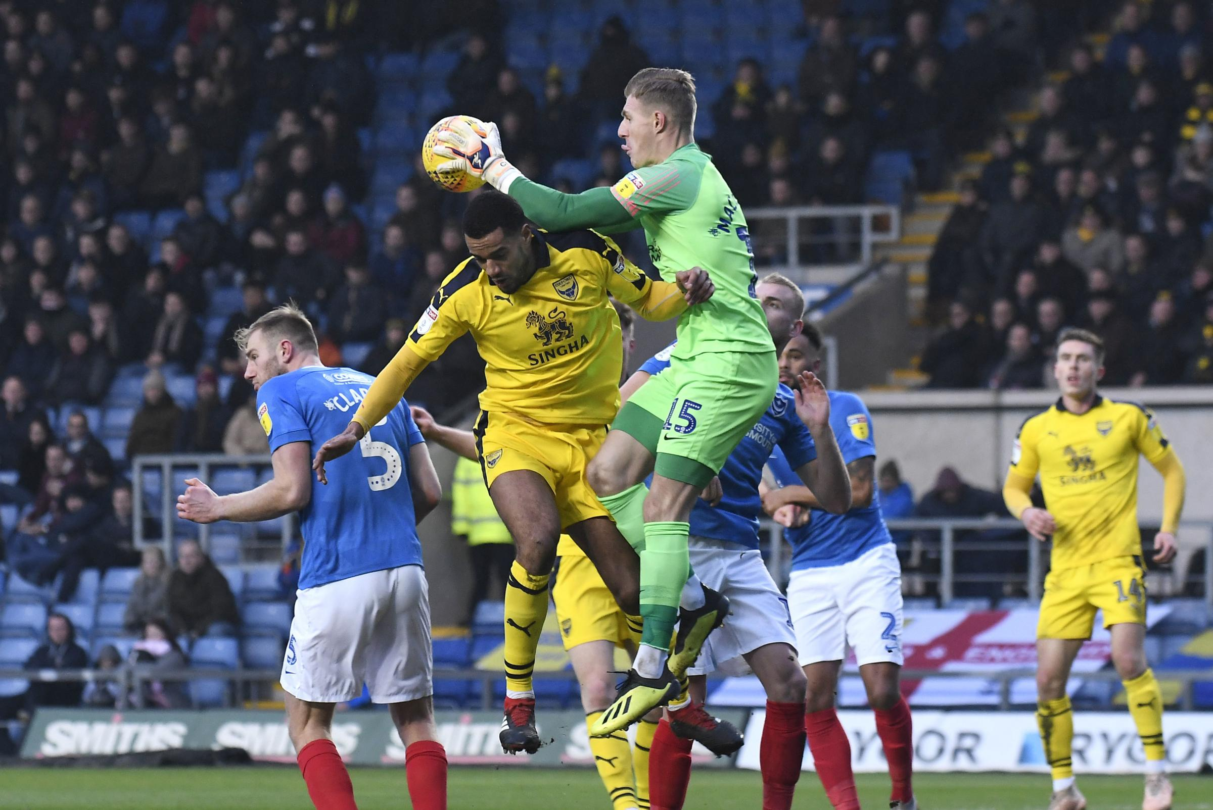 Curtis Nelson contests a corner against Portsmouth earlier this month