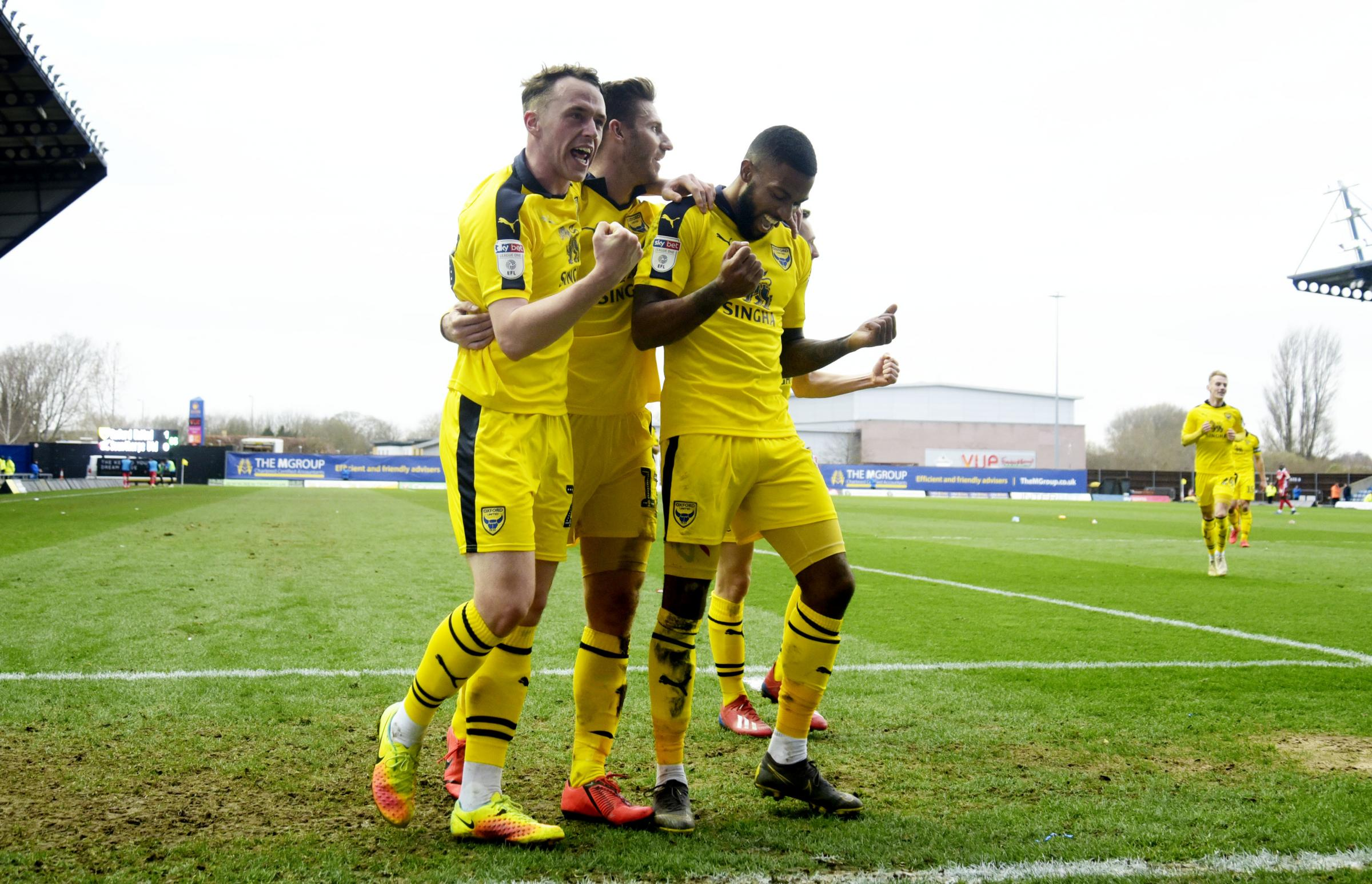 Jerome Sinclair (right) is congratulated by Sam Long (left) and James Henry after scoring what proved to be the winner last weekend   Picture: David Fleming