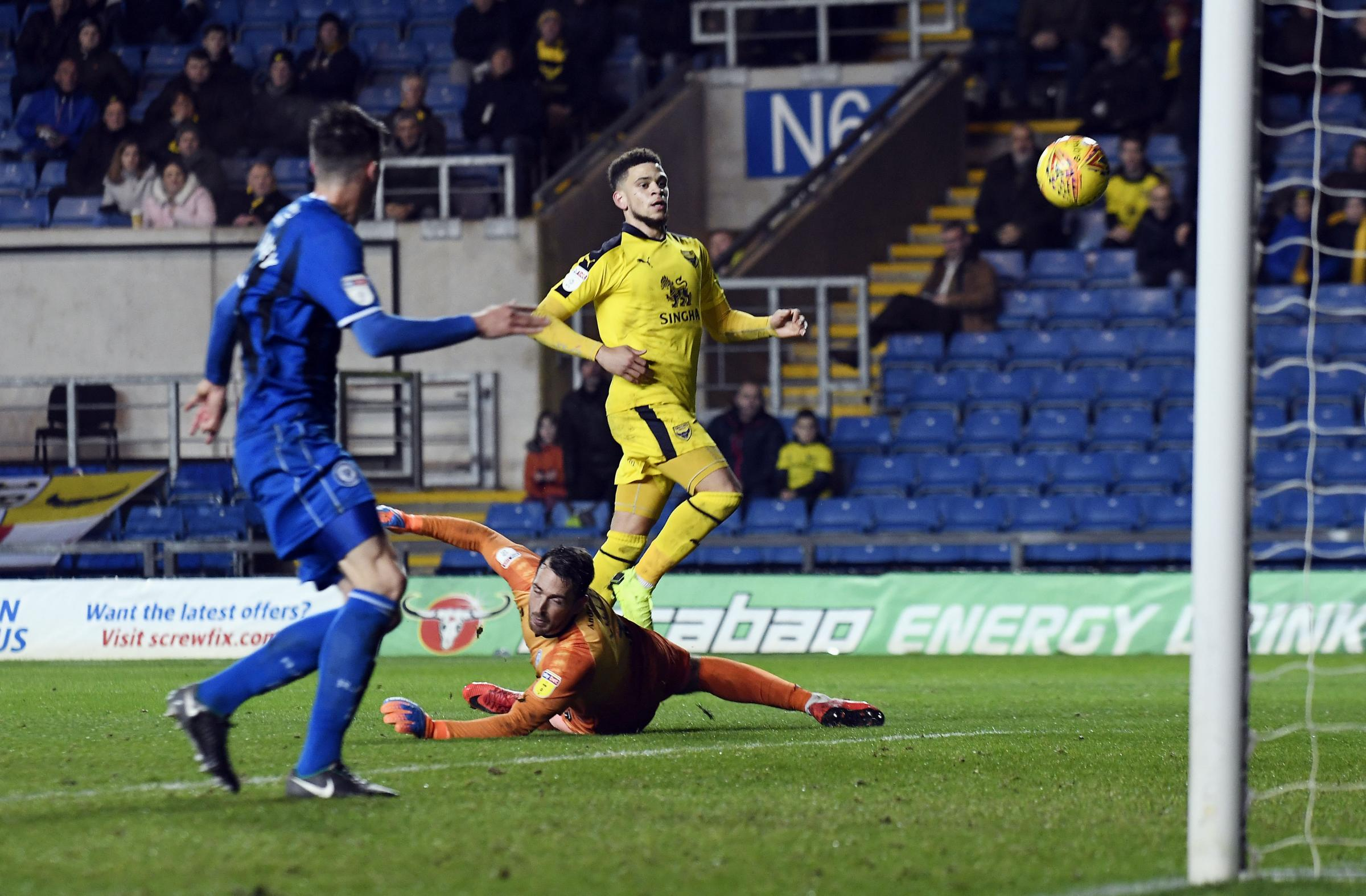 Marcus Browne scores his second goal of the game in Oxford United's win at Rochdale in November  Picture: David Fleming