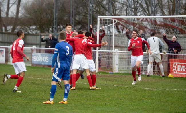 ce7bed2e452 Didcot Town s players celebrate the dramatic injury-time goal from Felipe  Barcelos which rescued a