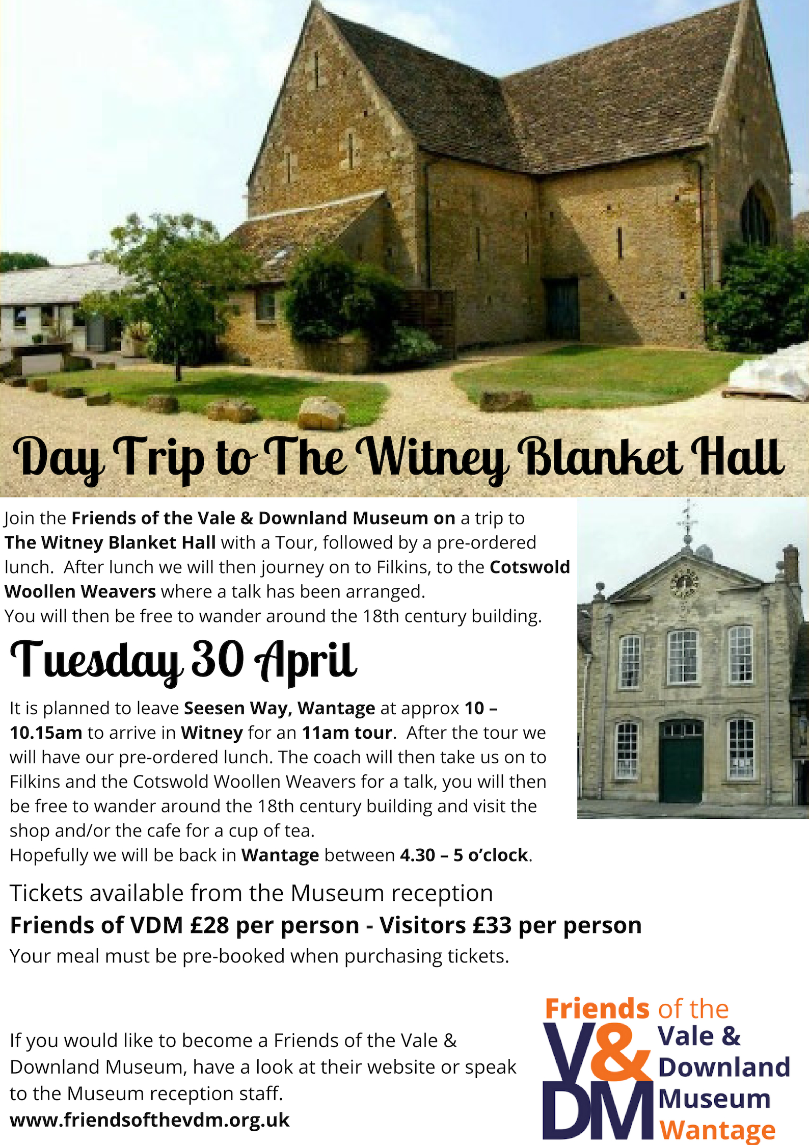Day Trip to The Witney Blanket Hall & Cotswold Woollen Weavers