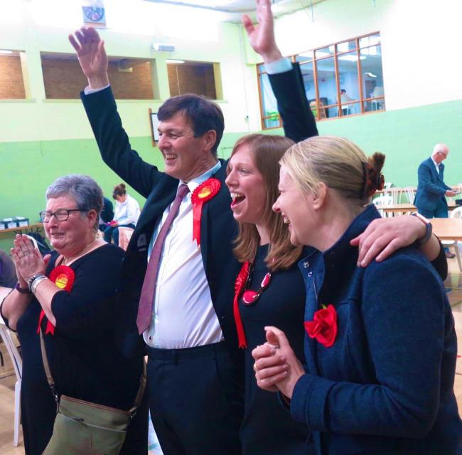 Duncan Enright and Rosa Bolger, both centre, celebrate at this year's count Picture: Jacqueline Mainwaring