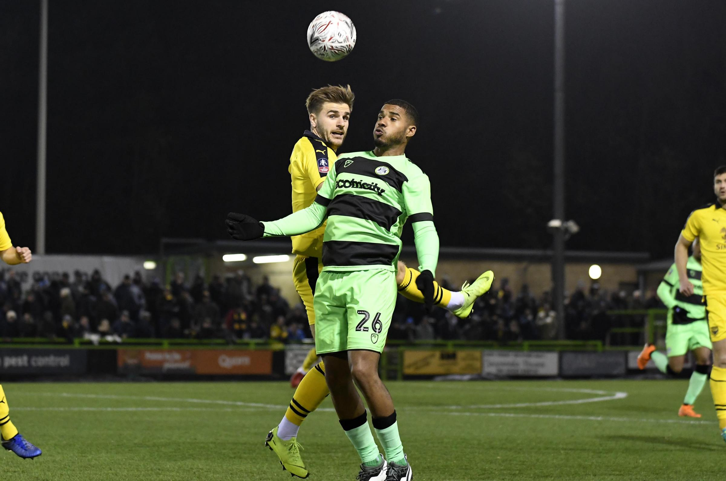 Reuben Reid, pictured playing against Oxford United in the FA Cup this season, has been transfer-listed by Forest Green Rovers    Picture: David Fleming