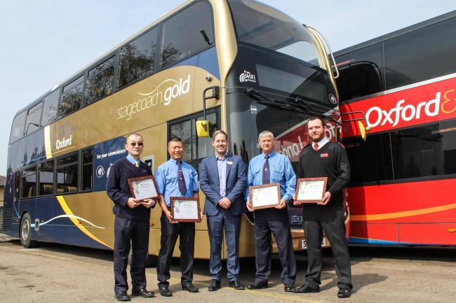 Stagecoach and Oxford Tube drivers have received Master Fleet Elite status for their 'high standard' of driving. : L-R: Tao Wang (Witney), Ramdhan Rai (Oxford), Chris Coleman, Christopher Bishop (Banbury) and James Lovegrove (Oxford Tube). Pic