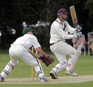 Great Tew's Paul Catling on the attack in their controversial game against Abingdon Vale