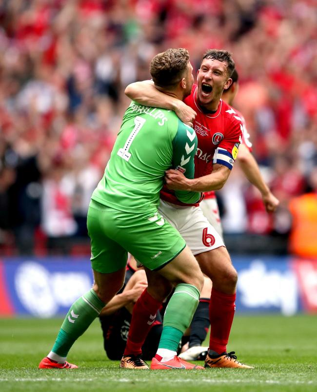 Charlton Athletic's Jason Pearce (right) celebrates with Dillon Phillips after their late victory against Sunderland at Wembley    Picture: Tim Goode/PA Wire